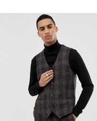Heart & Dagger Slim Suit Waistcoat In Brown Harris Tweed