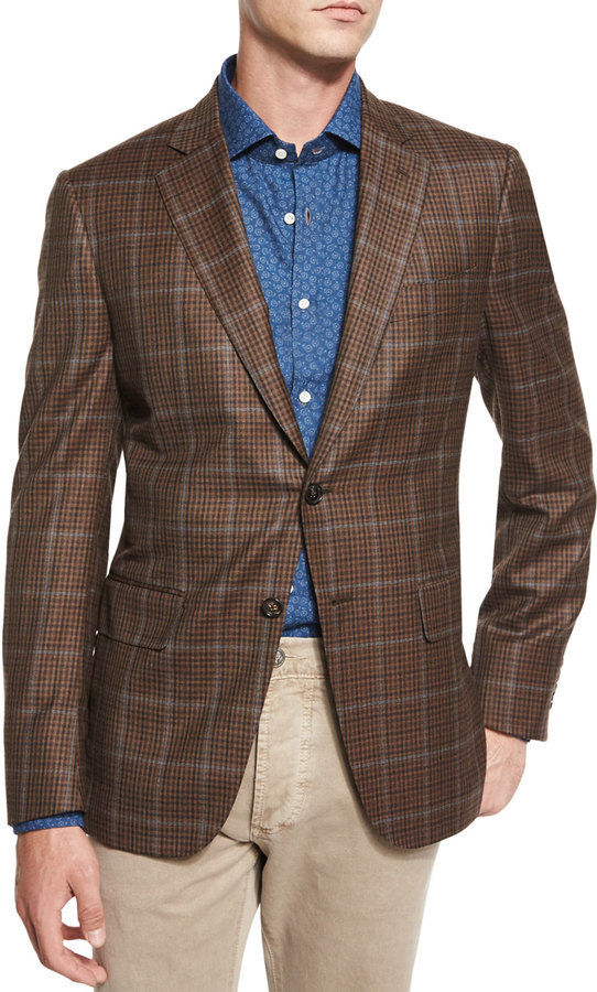 ... Isaia Windowpane Check Two Button Sport Coat Brown ...