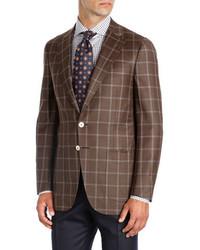 Windowpane wool two button sport coat medium 3995008