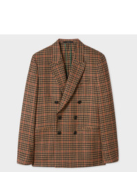 Brown Check Wool Double Breasted Blazer
