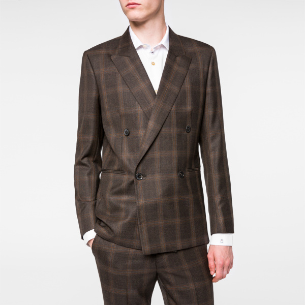 Paul Smith Brown Windowpane Check Double Breasted Wool Blazer ...