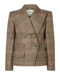 Fendi Double Breasted Prince Of Wales Checked Wool Jacket