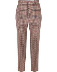 Balenciaga Checked Wool Blend Tweed Straight Leg Pants
