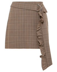 Brown Check Wool Mini Skirt