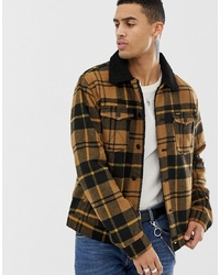 Wrangler Borg Lined Check Wool Trucker Jacket In Golden Brown