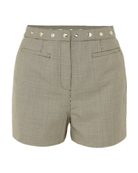 ALEXACHUNG Embellished Houndstooth Wool Blend Shorts