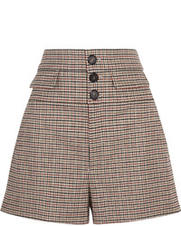 Chloé High Rise Houndstooth Wool Blend Tweed Shorts