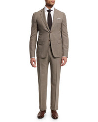Isaia Check Two Piece Wool Suit Tan