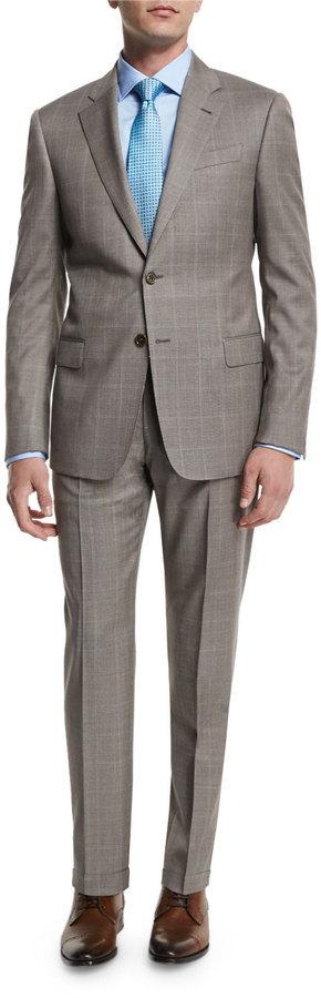 Armani Collezioni G Line Windowpane Two Piece Wool Suit Tan