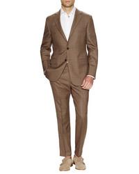 Hickey Freeman Brown Glen Plaid Suit
