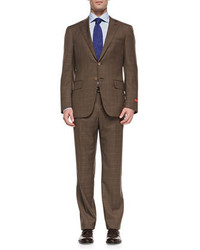 Isaia windowpane two button suit brown medium 414695