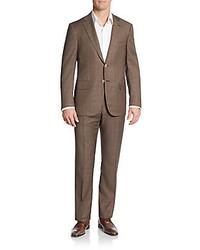 Regular fit wool windowpane check two button suit medium 414693