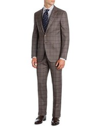 Isaia Windowpane Super 140s Wool Two Piece Suit Light Brownblue