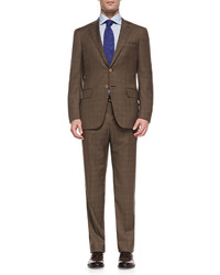 Isaia Windowpane Two Button Suit Brown
