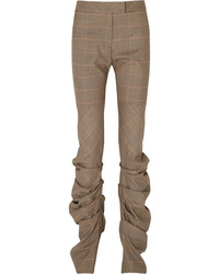 Preen by Thornton Bregazzi Harriet Ruched Prince Of Wales Checked Wool Slim Leg Pants