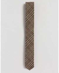 Asos Tie In Check With Frayed Edge In Wool Mix