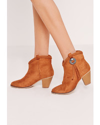 Missguided Chelsea Pleated Top Western Ankle Boot Tan