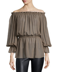 Michael Kors Michl Kors Off The Shoulder Blouson Top Java