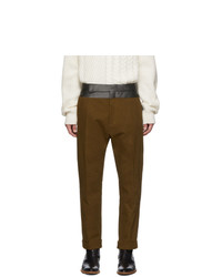 Haider Ackermann Brown Contrast Waistband Trousers