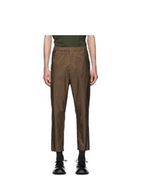 Prada Brown Elasticized Waist Nylon Trousers