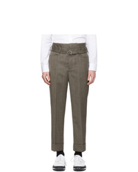 Neil Barrett Brown Wool Slim Tube Trousers
