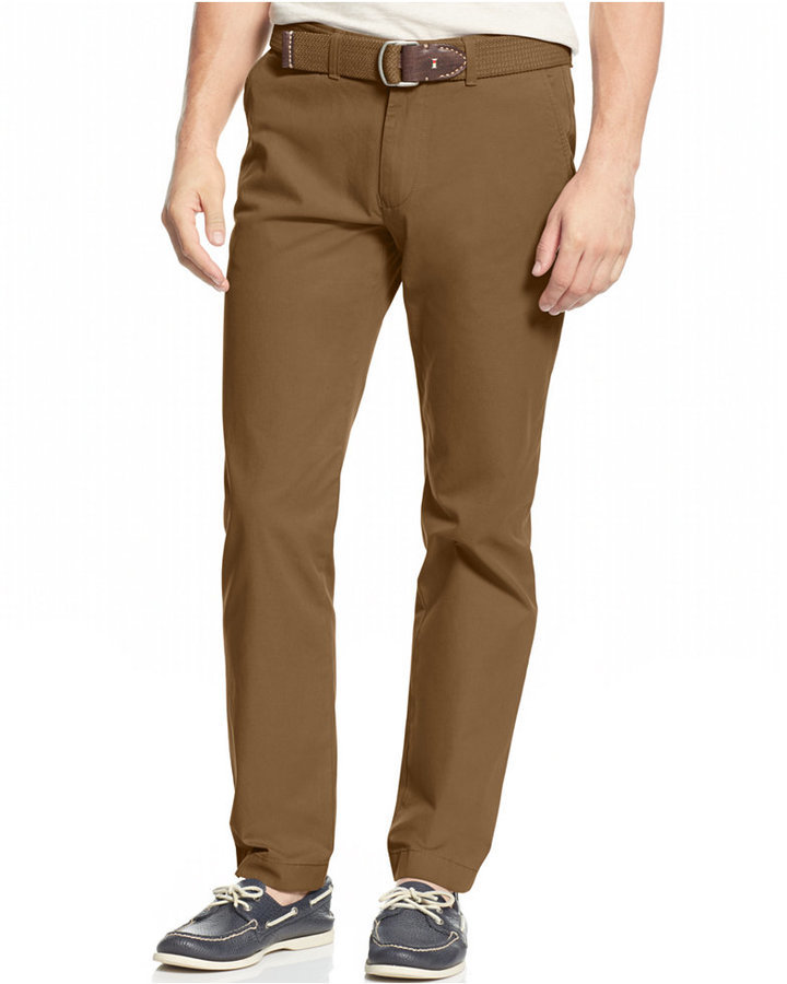 b53556191 Custom Fit Chino Pants. Brown Chinos by Tommy Hilfiger