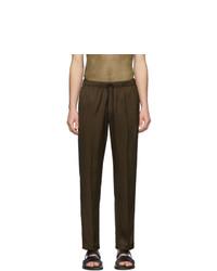 Dries Van Noten Khaki And Black Perkino Tape Trousers