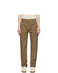AMI Alexandre Mattiussi Taupe Patch Pockets Straight Fit Trousers