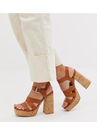 Stradivarius Cork Stack Platform Sandals In Tan