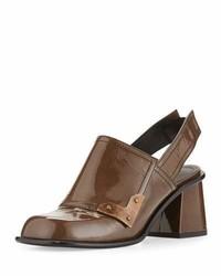 Patent slingback chunky heel bootie dark mushroom medium 3697389