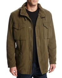 Vince Cotton Hooded Shearling Lined Army Coat Olive