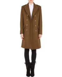 Saint Laurent Melton Double Breasted Military Coat Brown