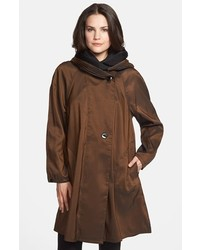 Reversible pleat hood packable travel coat medium 3753479