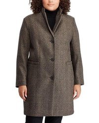 Lauren Ralph Lauren Wool Blend Herringbone Reefer Coat