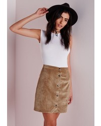 Missguided Cord Button Through A Line Skirt Tan