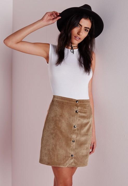 51582e8b80c9 Missguided Cord Button Through A Line Skirt Tan, $37 | Missguided ...