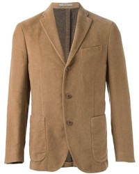 c714f02cdafa Men's Brown Cotton Blazer, Light Blue Long Sleeve Shirt, Navy Ripped ...