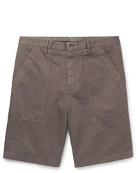Ermenegildo Zegna Gart Dyed Cotton And Linen Blend Shorts