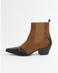 ASOS DESIGN Cuban Heel Western Chelsea Boots In Tan Suede And Leather Mix