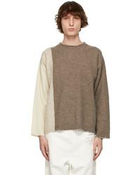 Maison Margiela Brown Wool Paneled Sweater