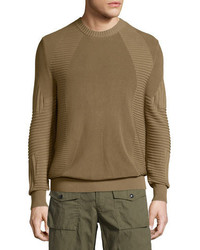 Belstaff Kallen Multi Stitch Crewneck Sweater Slate Green