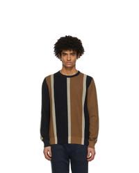 Salvatore Ferragamo Navy And Brown Silk Striped Sweater