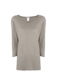 Le Tricot Perugia Scoop Neck Cropped Sleeve Sweater