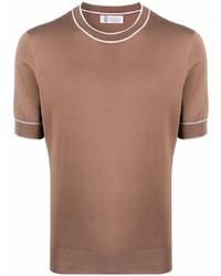 Brunello Cucinelli Contrast Trim Fitted T Shirt