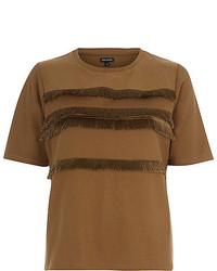 River Island Light Brown Fringe Trim T Shirt