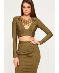 Missguided Green Criss Cross Strap Bandage Crop Top