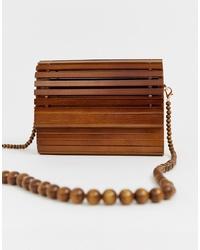 New Look Slatted Wood Bag In Dark Brown