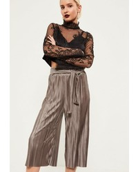 Missguided Brown Crinkle Tie Waist Culottes