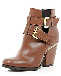 Brown leather cut out buckle ankle boots medium 164241