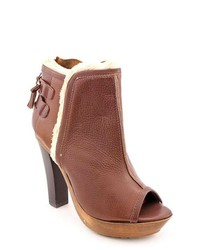Madison Harding Pagoda Brown Peep Toe Leather Fashion Ankle Boots
